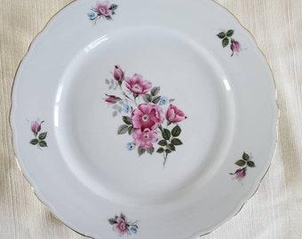 WIG137   Pink Rose for Wedding  Shower  Tea Party 7.5 inch plates Winterling Bavaria Germany 12 dessert  salad plates