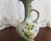 RStK Amphora Vintage Art Noveau Turn Teplitz Green Yellow and Gold Thistle Themed Pitcher