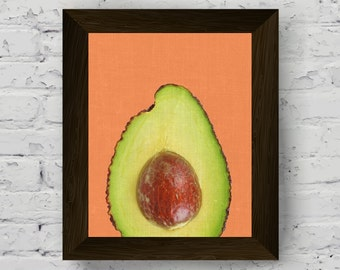 avocado wall art print, fruit tropical poster, kitchen art, fruit printable art, instant digital download, tropical modern artwork
