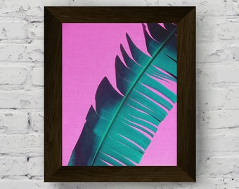 palm leaf wall art, tropical print, pink and green printable artwork, palm tree poster, modern contemporary art, instant digital download