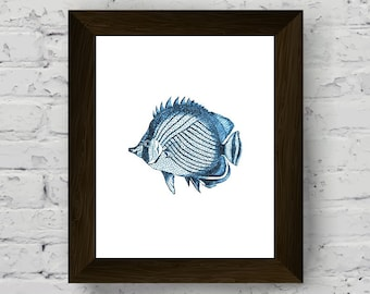 fish art, nautical wall decor, coastal prints, fish watercolor, marine wall art, bathroom sea print, wall art prints, digital download