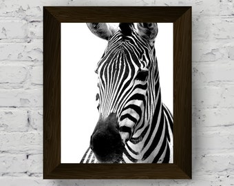 black and white prints, zebra photography, jungle animal wall art print nursery, african animal printable poster, instant digital download