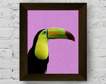 toucan art print, tropical decor, bird wall art poster, tropical photography, printable artwork, instant digital download, modern wall decor