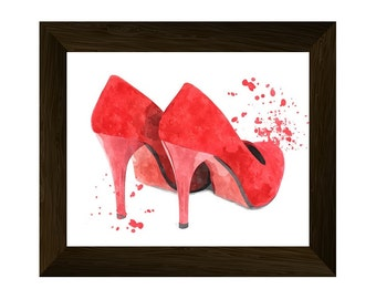 fashion illustration, red shoes wall art prints, glamour modern poster, printable artwork, fashionable print, instant digital download