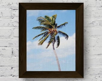 palm tree print, tropical wall art, palm leaf, nature photo, palm wall art, tropical poster, beach print, digital download, printable art