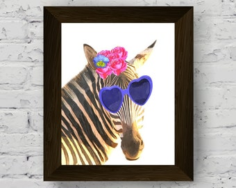 funny animal watercolor, zebra wall art, nursery animal print, safari animals, baby room decor, instant digital download, printable artwork