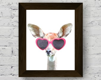 antelope wall art, funny animal print, woodland animal watercolor, prints for nursery, instant digital download, printable artwork