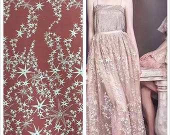 Latest design star lace fabric alencon french lace bridal fashion guipure embroidery lace fabric wedding lace fabric by the yard