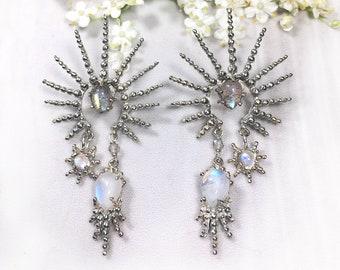 Silver moonstone & labradorite statement earrings, silver starburst earrings, granulated star earrings, silver sun boho earrings, boho jewel