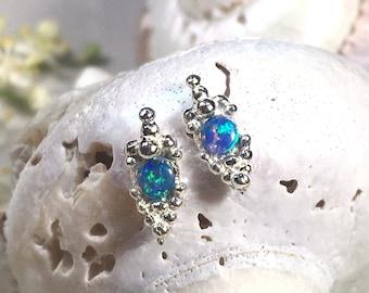 Tiny silver opal stud earrings, opal gemstone earrings, silver granulated earrings, silver stacking earring, silver stud earrings