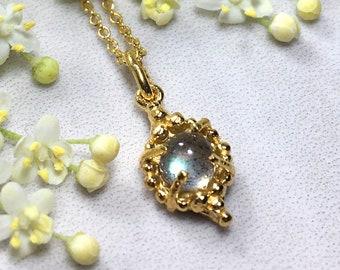 Gold leaf shape labradorite gemstone charm necklace,  rustic labradorite yoni pendant, cabochon gemstone charm, yoni pendant