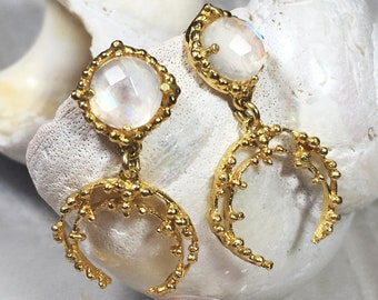 Gold rainbow moonstone and crescent moon earrings, rustic gold earrings, granulated gemstone earrings, boho earrings, boho jewel, statement
