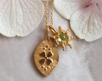 Custom Good luck Charm, gold Four leaf clover, lucky horseshoe charm, silver luck necklace, personalized necklace, personalised jewelry