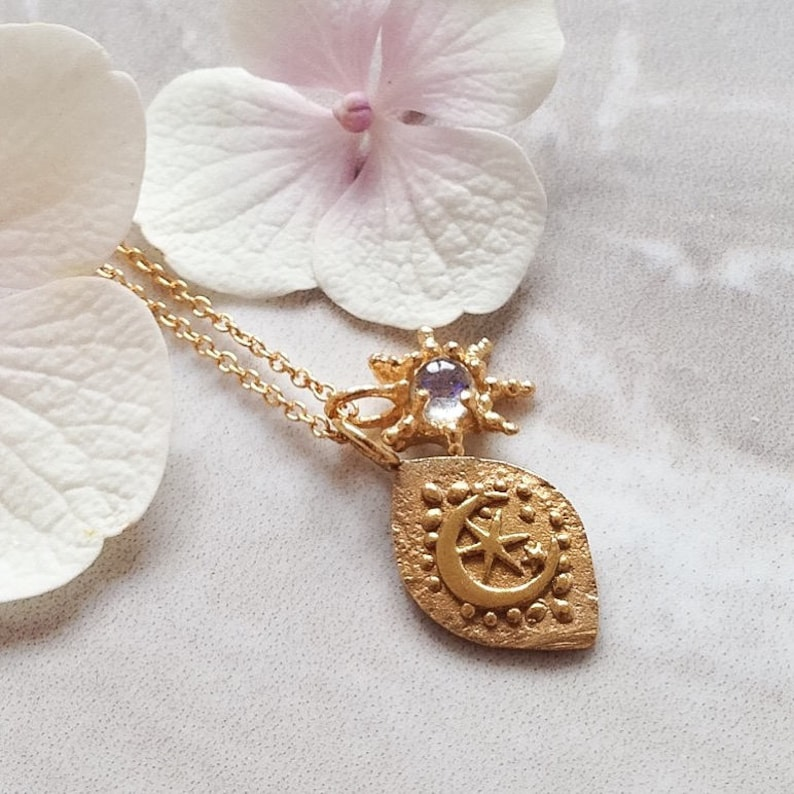 Custom Cresent moon Charm Necklace gold Moon silver moon image 0