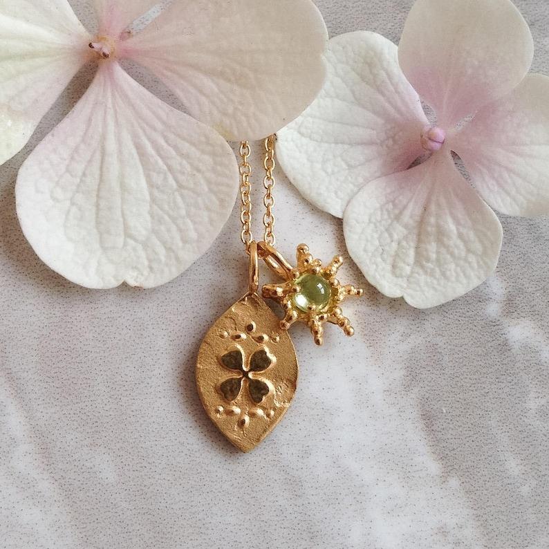 Custom Good luck Charm gold Four leaf clover lucky horseshoe image 0