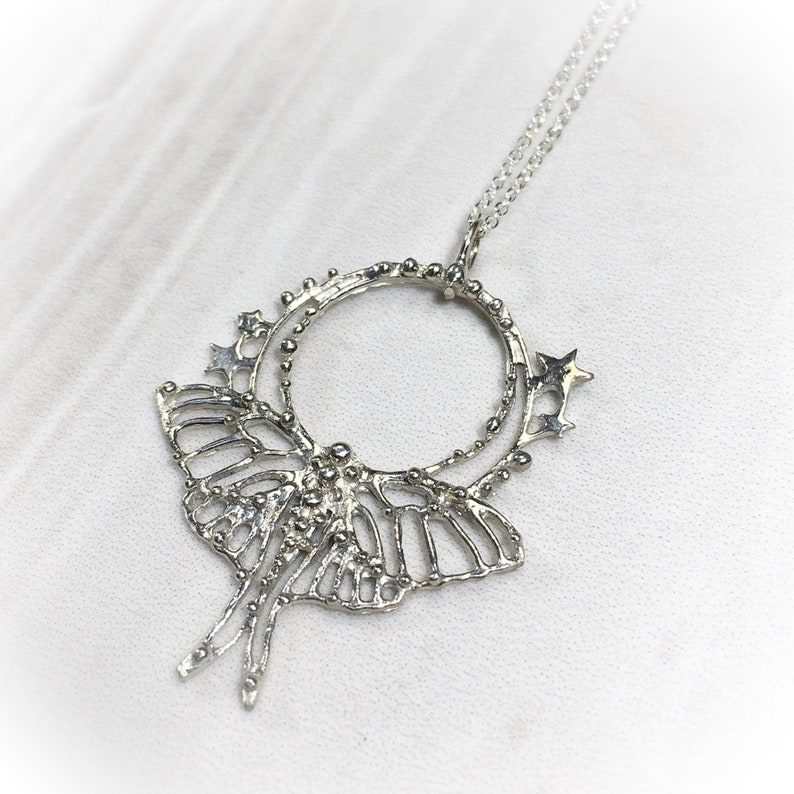 Silver Luna moth necklace silver butterfly filigree image 0