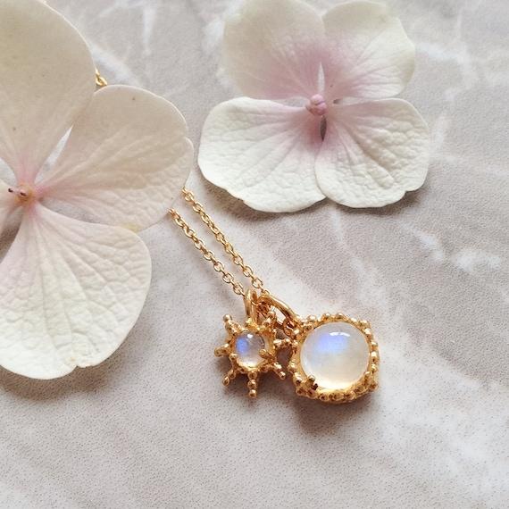 Peach Rhodochrosite and moonstone gemstone necklace on 18ct gold plated silver rustic gemstone pendant star pendant cabochon gemstone