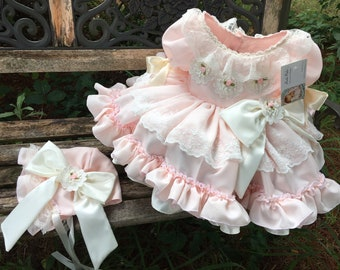 Ruffles and lace girls blush pink OR baby blue halter top and matching bloomers ALL handmade flower headband sold seperate