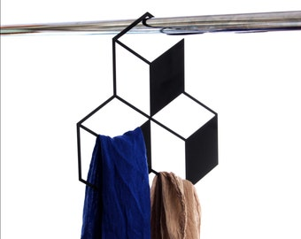 Closet Rack // Shaped as 3 - 3D Cubes // Close Organization and Holder // Scarfs Hanger // Home Decor Gift // by ArtoriDesign