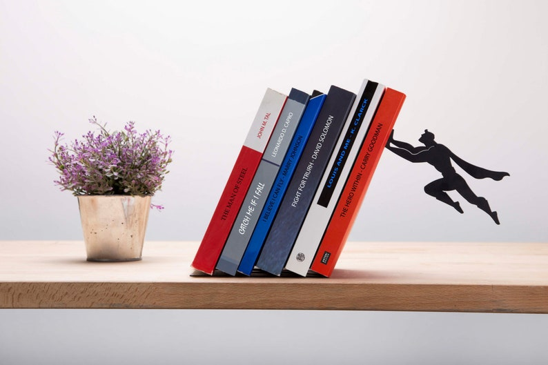 Bookend Shaped as a Superhero  Metal Designed Bookends  image 0