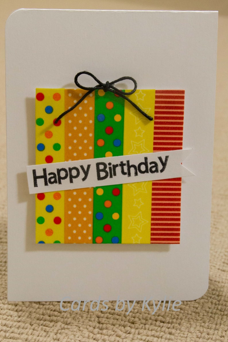 Birthday Present Card Bright Children Christmas Gift Washi Spotty Handmade 105cmx 15cm A6 Size Kids Young Adults Anyone All Ages
