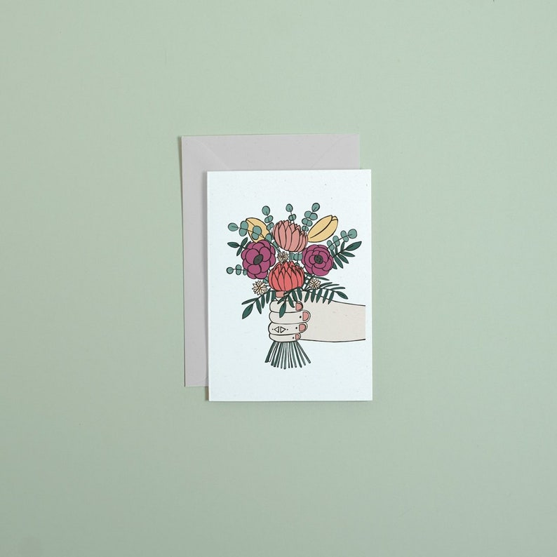 Bunch of flowers greetings card // mothers day card // thank image 0