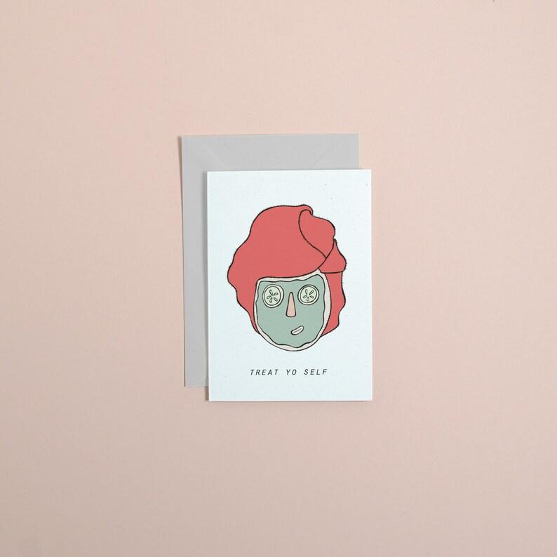 treat yo self // galentines day // girl gang // greetings card image 0