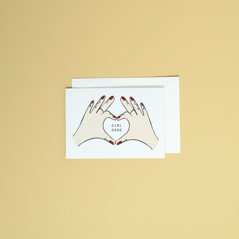 Love heart hands  girl gang greetings card  stationery  Mother/'s Day card  illustrated greetings card  name customisable card