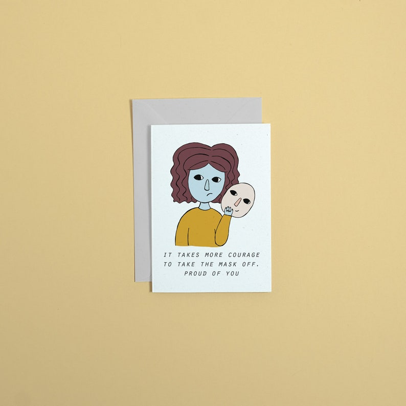 Courage greetings card // proud of you // mental health // image 0