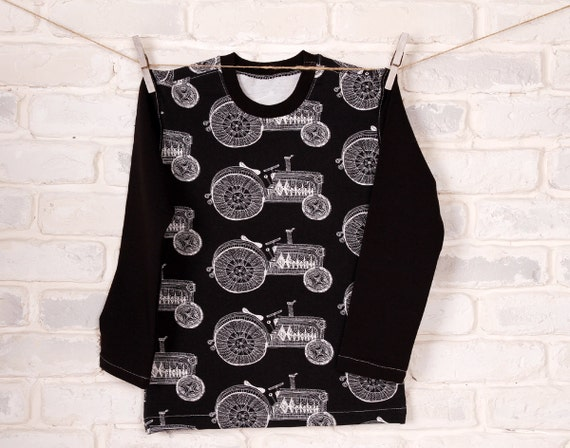 35cb0263c314 Tractor longsleeve top for boy organic cotton vehicle
