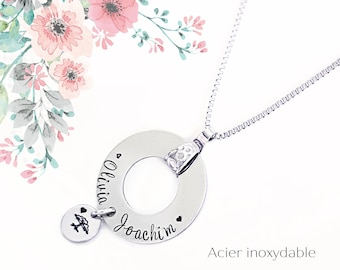 Custom Necklace, Mom Gift, Woman Necklace, Children's Name, Family Necklace, Family Jewel, Mother Gift, Grandma, HTC, Handmade