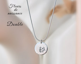 Birth Flower, Mom, Family, Kids, Necklace Woman, Flower of the Month, Minimalism, Gift Woman, Stainless Steel, Handmade, HTC+Emie