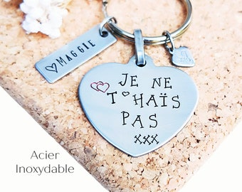 Declaration love, Gift love, Couple, Sweet words, Love, Keychain, I love you, I don't hate you, Gift humor, Funny quote, HTC, Heart