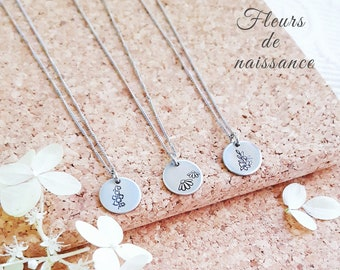 Birth flower, Women's necklace, Flower of the month, Minimalism, Woman's gift, 10mm, Stainless steel, Handmade, Teenage gift, HTC+Emie