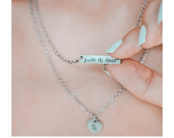 Just Sweet, 2 row necklace, Women's gift, Women's necklace, Bar necklace, Minimalist, Stamping, Handmade, Quebec City, HTC x Emie,