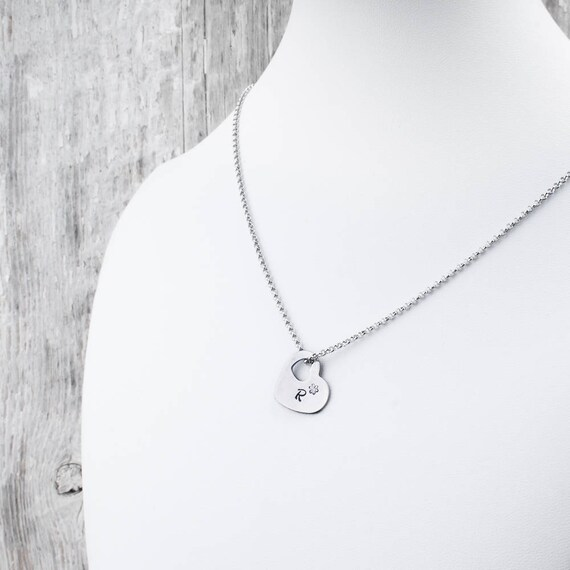 initial jewelry jewelry letter necklace Personalized necklace minimalist necklace initial charm teenager heart charm HTC