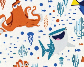 Disney Finding Dory Characters and Coral White Fabric from Camelot Fabric