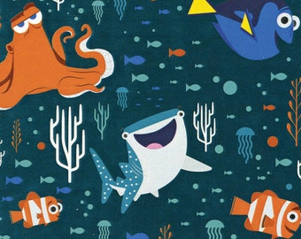 Disney Finding Dory Characters and Coral Dark Teal Fabric From Camelot