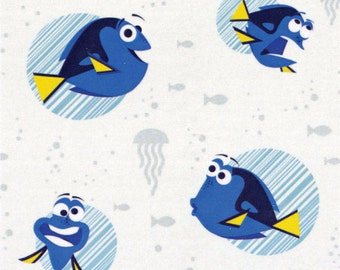 Disney Finding Dory Faces White Fabric from Camelot Fabric