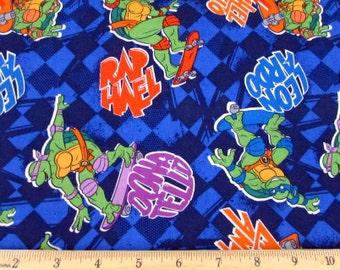 Nickelodeon Fabric- Teenage Mutant Ninja Turtles Fabric- TMNT Skating Turtle Toss Fabric From Springs Creative