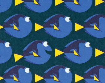 Disney Finding Dory Dot Dark Teal Fabric From Camelot