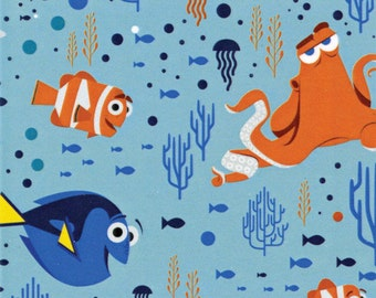 Disney Finding Dory Characters and Coral Aqua Fabric from Camelot Fabric