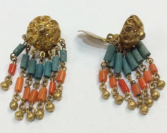 Tribal Estate Beaded Coral Goldtoned Clip On Earrings