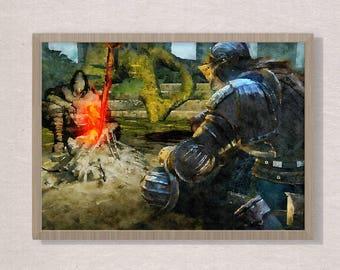 Better present for him , Souls, Art poster , watercolor poster, video game art, video game poster,souls dark, art dark, art souls