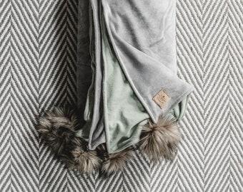 Dove Gray + Winter Mint | Heirloom Organic Velour + Flannel Lap Duvet Blanket