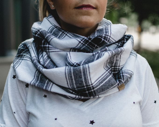 Black + White Plaid | Flannel Cowl Neck Infinity Scarf