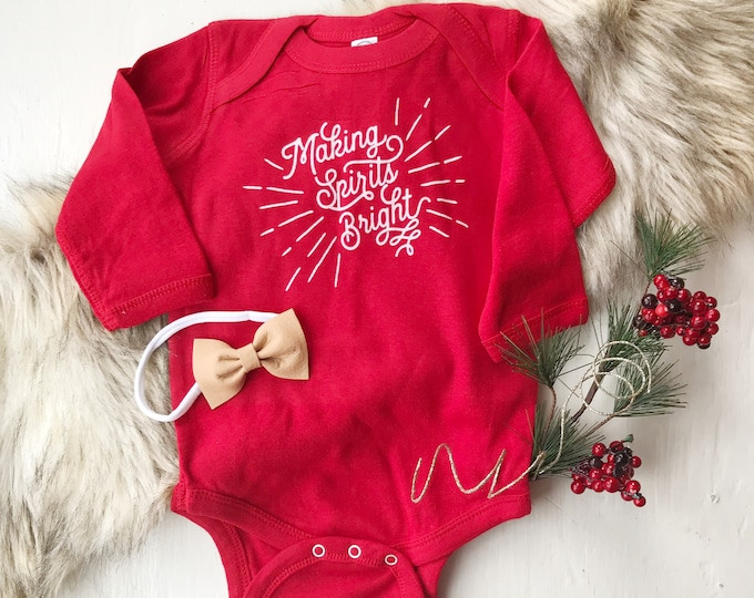 Making Spirits Bright /// Baby long sleeve onesie