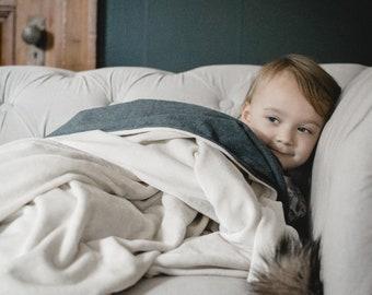 Candlelight White + Charcoal Gray | Heirloom Organic Velour + Flannel Lap Duvet Blanket