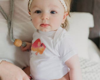 Pink watercolor Buffalo /// Baby Bodysuit