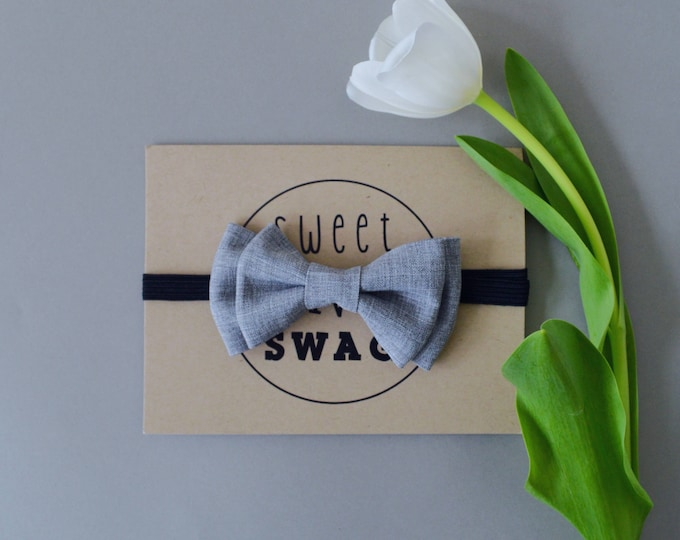 Grey Chambray | Baby Bow Tie